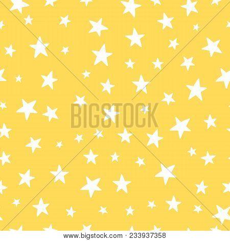 Cute Yellow Vector Stars Seamless Pattern Nursery Background. Cute Vector Romantic Hearts For Postca