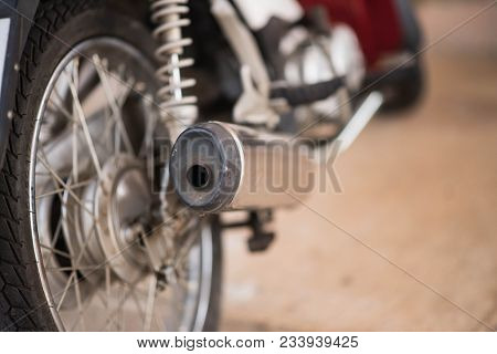 Close Up Of Exhaust Pipe Of Motorcycle