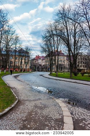 Cobble Street Winding Through Old Town. Lovely Cityscape In Springtime. Location Narodna Square, Uzh