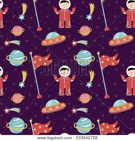 Space Discover Pioneers Cartoon Seamless Pattern. Astronaut In Spacesuit, Stars, Comet, Saturn Plane