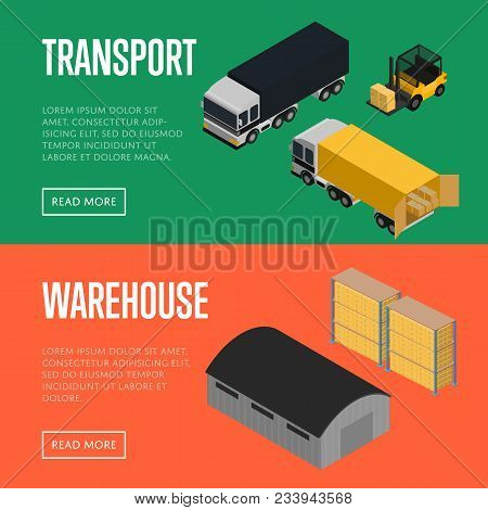 Transport And Warehouse Isometric Illustration. Forklift With Packing Boxes Loading Commercial Cargo