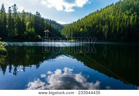 Synevyr Lake On Summer Evening. Beautiful Scenery Among The Forest. Reflection Of A Cloud In A Rippl
