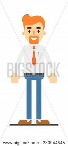 Happy Redheaded Bearded Clerk Character Isolated On White Background Illustration. People Personage