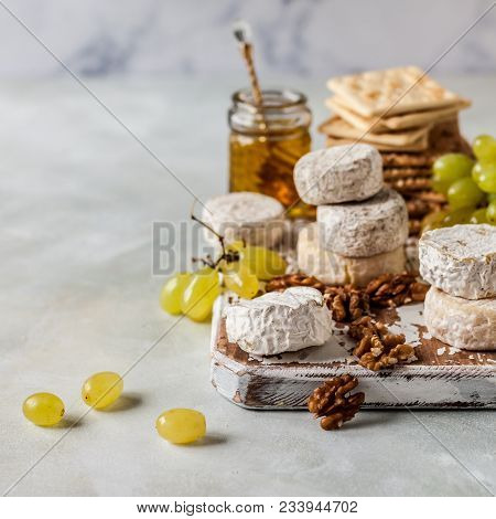 Cheese Platter, Variety Of French Cheeses, Green Grapes, Walnuts, Honey And Crackers, Square, Copy S