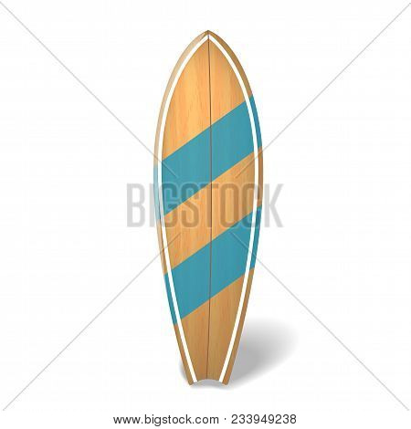 Wood Surf Board Summer Surfing Isolated Realistic Surfboard. Vector Illustration