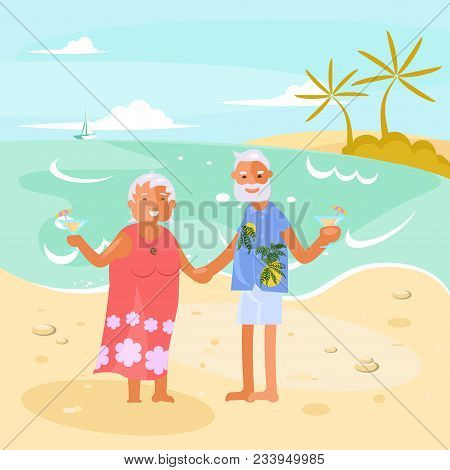 Healthy Active Lifestyle Retiree For Grandparents. Elderly People Characters Travel. Voyage For Gran