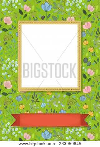 Floral Greeting Card. Graceful Watercolor Flowers And Plants. Yellow Frame For Custom Photo. Red Ban