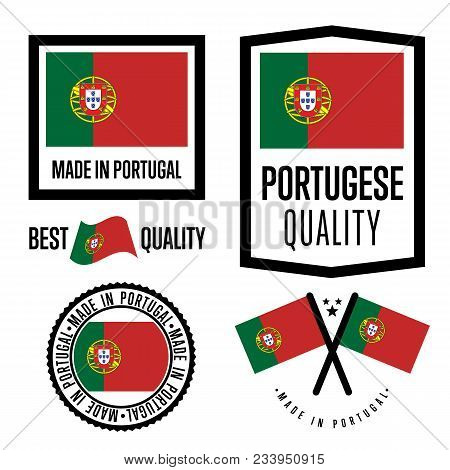 Portugal Quality Isolated Label Set For Goods. Exporting Stamp With Portuguese Flag, Nation Manufact
