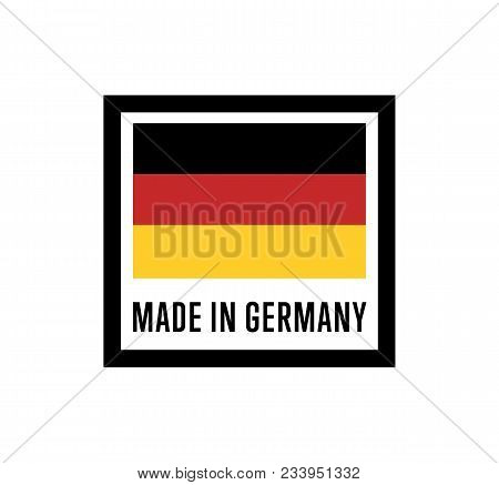 Made In Germany Label For Products Illustration Isolated On White Background. Square Exporting Stamp