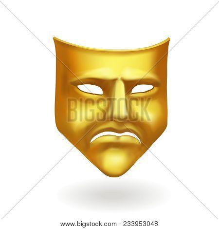 Gold Theatrical Sad Mask. Tragedy Icon Symbol.