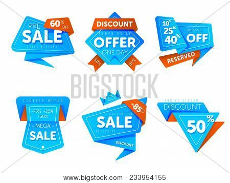 Special Offer Sale Tag Discount Symbol Retail Sticker Sign Price Set Isolated On White Background, M