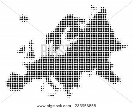 Europe Map Halftone Vector Pictogram. Illustration Style Is Dotted Iconic Europe Map Symbol On A Whi