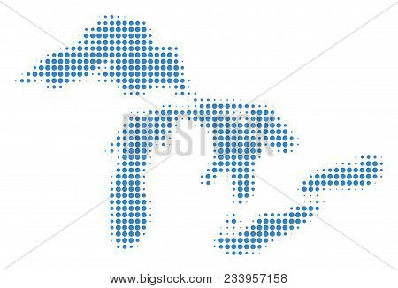 Great Lakes Map Halftone Vector Pictograph. Illustration Style Is Dotted Iconic Great Lakes Map Symb