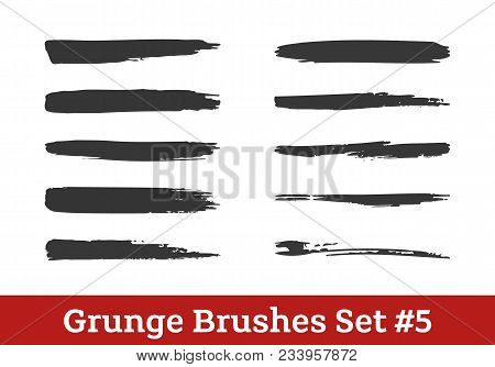Grunge Vector Brushes Collection. Black Dry Brush Strokes Isolated On White. Ready To Use Brushes Ad