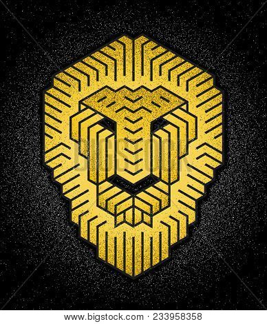 Abstract Vector Image Of A Lion Head Front View. Vector Sign Drawn With Hexagon Mesh. Lion Logo For