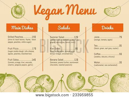 Vegan Cafe Menu Hand Drawn Design With Fruits Sketches. Vegetarian Restaurant Price Catalog With Sal