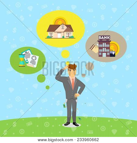 Businessman In Business Suit And Tie Think About Investing. Smart Investment Opportunity In Securiti