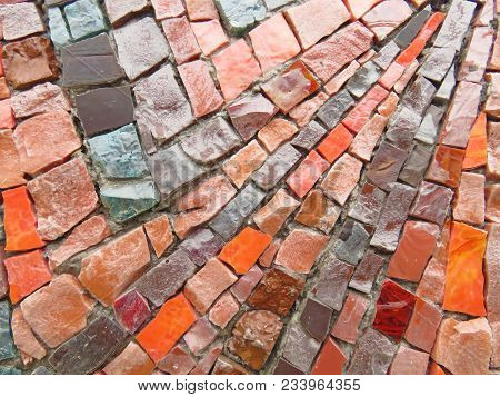 Gold, Bright And Colorful Square Mosaic. Beautiful Mosaic, Background Of Mosaic. For Your Design, Te