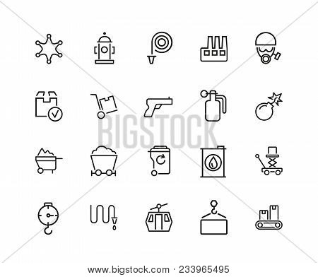 Heavy Work Icons. Set Of Twenty Line Icons. Miner, Sapper, Police. Heavy Work Concept. Vector Illust