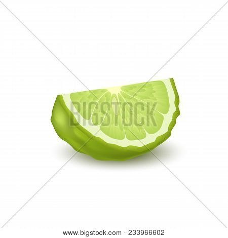 Isolated Colorfull Green Slice Of Juicy Bergamot, Kaffir Lime With Shadow On White Background. Reali