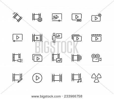 Movie Icons. Set Of Twenty Line Icons. Multimedia, Filmstrip, Camera. Video Content Concept. Vector