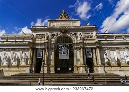 Rome, Italy - September 15 2017: Palazzo Delle Esposizioni Facade. External Day View Of Exhibition A