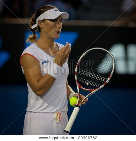 MELBOURNE - JANUARY 20: Samantha Stosur of Australia in her second round win over Vera Dushevina  of Russia in the 2011 Australian Open - January 20, 2011 in Melbourne