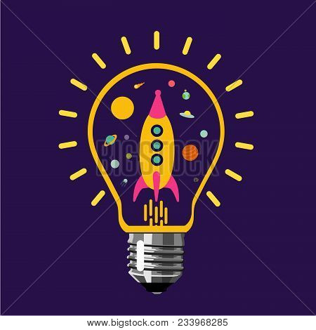 Creative Space. Rocket Is Flying Inside A Light Bulb. Univers In An Electric Bulb. Buisiness Concept