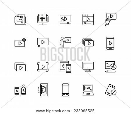 Screen Icons. Set Of Twenty Line Icons. Player Window, Mobile Phone, Laptop. Screen Concept. Vector
