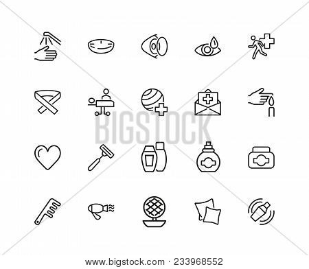 Self And Personal Care Icons. Set Of Twenty Line Icons. Insurance, Hairdressing, Eye Sight. Self Car