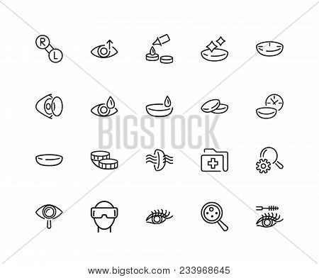 View Icons. Set Of Twenty Line Icons. Eyes Care, Contact Lens, Vr Glasses. View Concept. Vector Illu