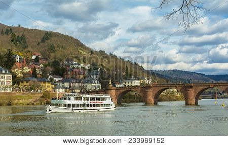 Gorgeous View From The Promenade Of Neckar River With The Famous Karl Theodor Bridge On March 31, 20