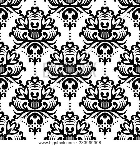 Vector Floral Damask Pattern. Rich Ornament, Old Damascus Style. Royal Victorian Pattern For Wallpap