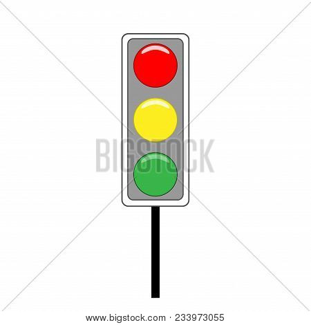 Stoplight Sign. Icon Traffic Light On White Background. Symbol Regulate Movement Safety And Warning.