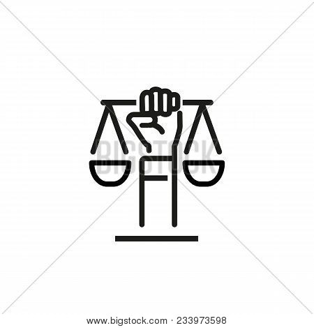 Line Icon Of Hand Holding Scales. Civil Rights Symbol, Justice, Lawyer. Courthouse Concept. Can Be U