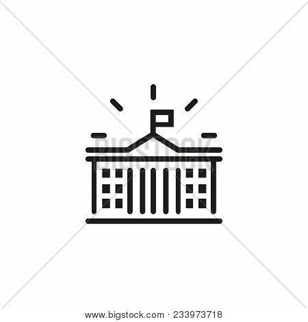 Line Icon Of Government Building. Courthouse, University, Museum. Court Concept. Can Be Used For Top