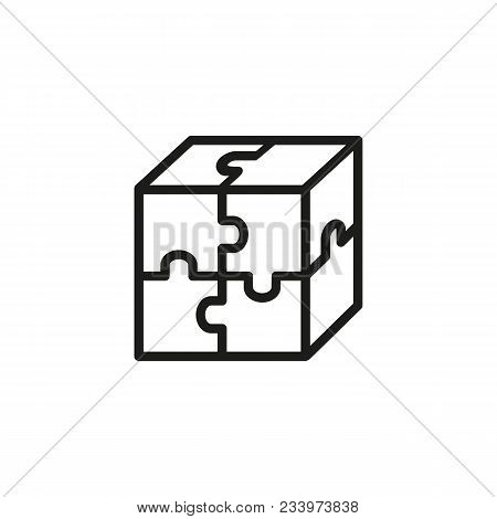 Line Icon Of Cube Puzzle. Plan, Strategy, Creativity. Solution Concept. Can Be Used For Topics Like