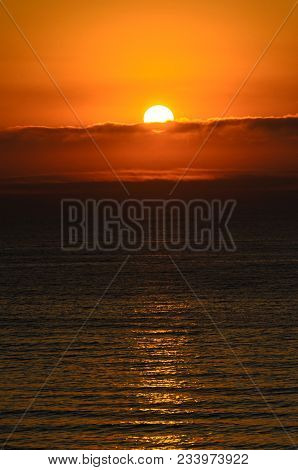 Beach Of Black Sea From Mamaia, Romania With Golden Orange Sky, Sands And Blue Clear Water, Sunrise
