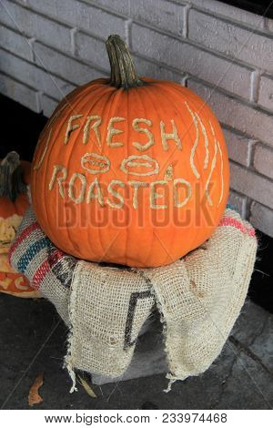 Large Pumpkin Carved With The Words