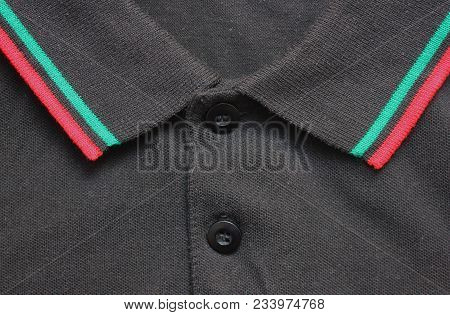 Black Polo T-shirt Collar With Red And Green Lines. Stylish Buttoned Shirt, Simple Clothing Design C