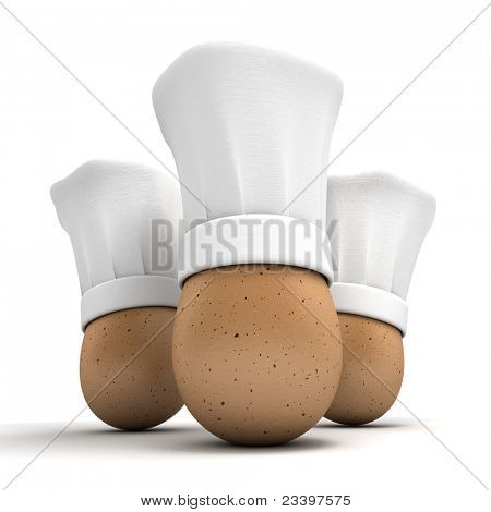 3D rendering of three eggs wearing chef toques