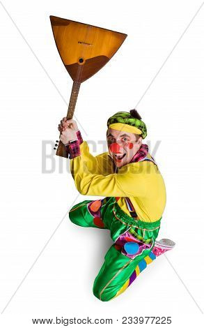 Funny Clown With A Balalaika Isolated On A White Background