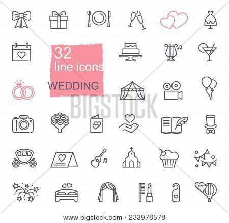 Wedding Line Icons Set. Modern Graphic Design Concepts, Simple Outline Elements Collection. Vector L