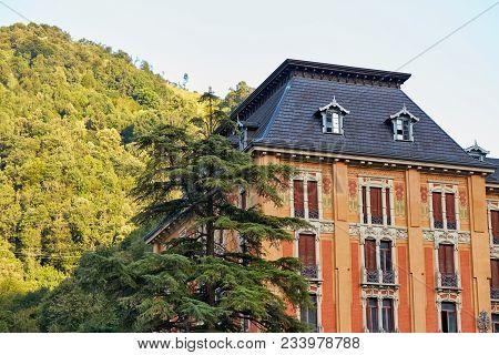 San Pellegrino Terme, Italy - August 18, 2017: Grand Hotel In San Pellegrino Terme