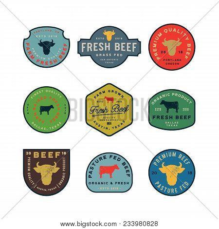 Set Of Premium Fresh Beef Labels. Retro Styled Meat Shop Emblems, Badges, Design Elements, Logotype