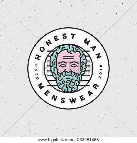 Honest Man Clothing Company Label. Menswear Textile Production Emblem, Badge, Design Elements, Logot
