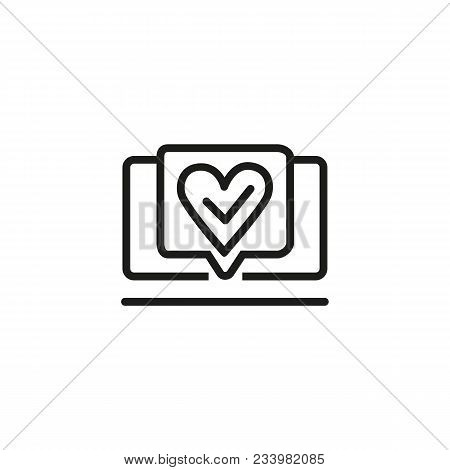 Icon Of Made With Love. Done, Heart, Monitor, Check Mark. Presentation Concept. Can Be Used For Topi