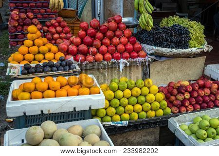 Fruit On The Asia Market Exotic. Traditional Street Fruit Market In Southeast Asia. A Variety Of Fru