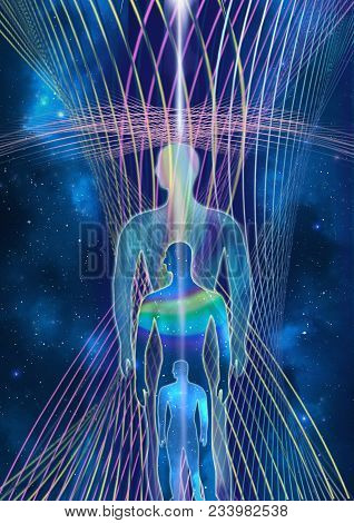 Consciousness Evolution - Abstract Illustration. Human With Universe On Space Star And Energy Fields