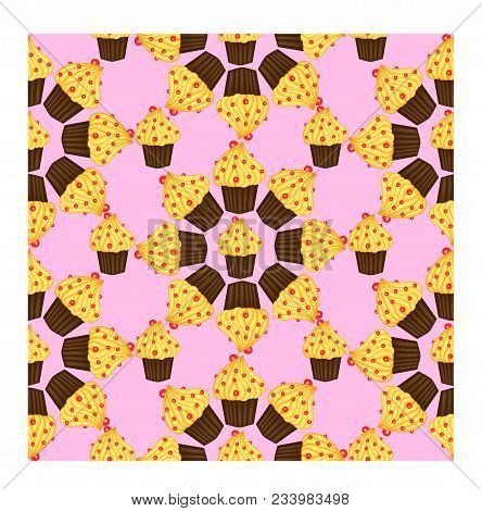 Seamless Pattern Of Cupcakes With Yellow Cream, Sweets, Baked Goods